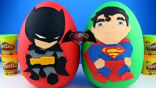 getlinkyoutube.com-Giant Batman vs Superman Play Doh Surprise Egg - Batman Play Doh Egg Imaginext Toys Robin Joker