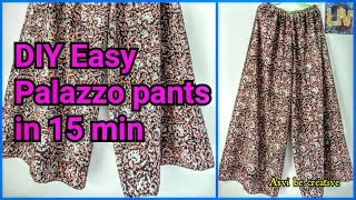 How To|DIY Easy Palazzo Pants in 15 min|Beginner|Split Skirt