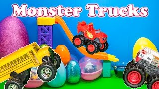MONSTER TRUCKS Surprise Eggs Blaze and the Monster Machines Monster Truck Surprise Eggs Video