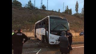 Nevşehir Acıgöl'de ögrencileri taşıyan otobüs devrildi