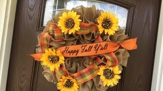 getlinkyoutube.com-Fall Burlap Ruffle Wreath No Hot Glue 2015