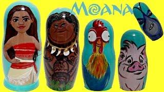 getlinkyoutube.com-Disney MOANA Princess Nesting Dolls, Maui, Hei Hei, Pua TOY Surprises, Fashem, Mashem / TUYC