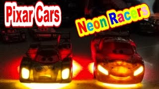 getlinkyoutube.com-Disney Pixar Cars Unboxing Neon Racers Shu Todoroki and Lightning McQueen WGP Race Cars