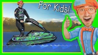 getlinkyoutube.com-Boats for Kids with Blippi | Explore a Jet Ski