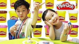 getlinkyoutube.com-[공룡이 나타났다!] 플레이도우 눈사람 장난감 만들기 Make a Snowman Play Doh Игрушки 라임튜브 おもちゃ LimeTube & Toys