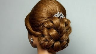 Wedding prom hairstyle for long hair. Bridal updo.