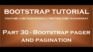 Bootstrap pager and pagination