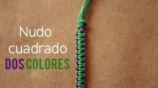 getlinkyoutube.com-Pulsera: Nudo plano en 2 Colores [FACIL]