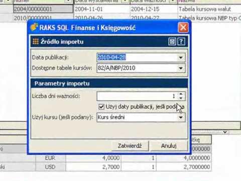 Automatyczne pobieranie tabel kursowych NBP do programu RAKSSQL