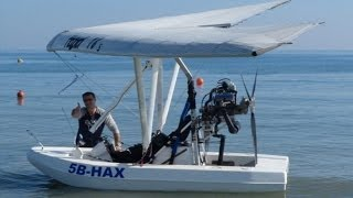 getlinkyoutube.com-Amphibious Ultralight Takeoff, Low Flying over Limassol and Water Landing - A Flying Boat!