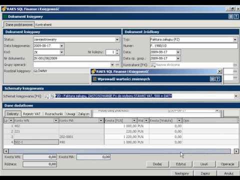Schematy księgowe w programie RAKSSQL