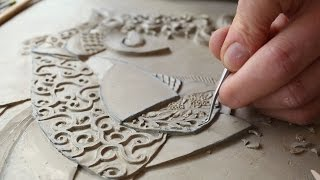 getlinkyoutube.com-Victoria Ellis Carves Fine Bas Relief Figurative Clay Mural