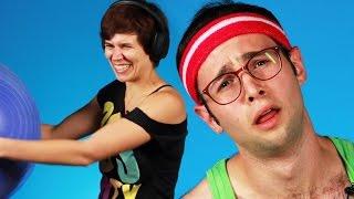 flushyoutube.com-People Try '80s Workout Video Moves
