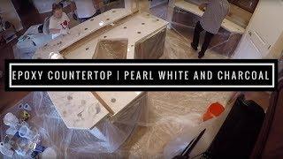 getlinkyoutube.com-Countertop Resurfacing with Metallic Epoxy Pearl White and Charcoal