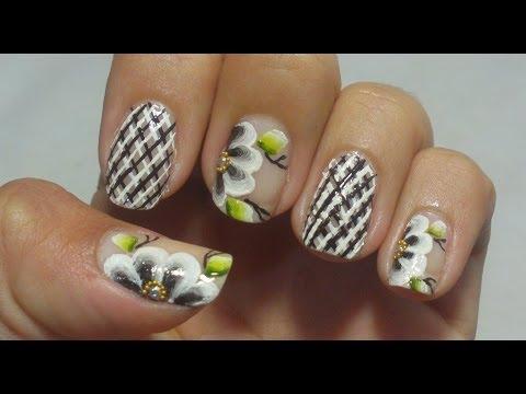 Unhas Express Decoração Xadrez Com Flor Manual Bela e Simples Nail Art