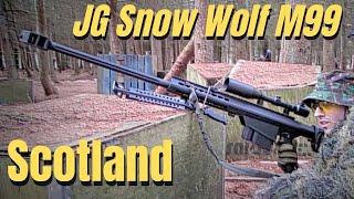 getlinkyoutube.com-Airsoft War Sniper Action JG Bar 10, JG Snow Wolf Barrett Scotland