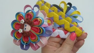 getlinkyoutube.com-Diy diadema Zig Zag y flores kanzashi para el cabello,braided headband tape