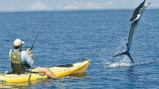 getlinkyoutube.com-300 Pound Marlin Tows Kayak 11 MILES