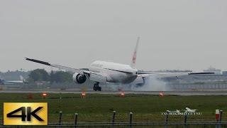 getlinkyoutube.com-超絶!! **すごい 超危険なタッチダウン後のゴーアラウンド Extreme Go around JAL B777 @Narita