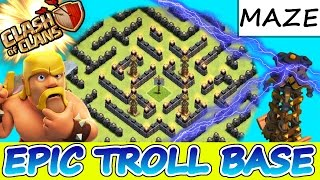 "getlinkyoutube.com-Clash Of Clans | EPIC TROLL BASE! ""MAZE OF DEATH"" 
