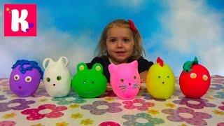getlinkyoutube.com-Животные заводные сюрприз из массы для объёмной лепки игрушки animals toys in magic surprise eggs