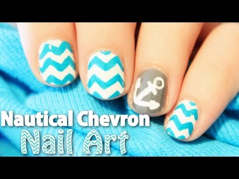Nautical Chevron Nail Art | TotallyCoolNails