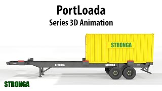 Stronga PortLoada terminal trailer | ISO container chassis | PL200-PL400 series 3D animation