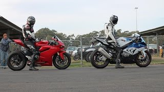 getlinkyoutube.com-Ducati 1199 vs Riding With Tom's BMW S1000rr vs Hayabusa vs Harley vs 848 Drag Racing