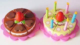 getlinkyoutube.com-Wooden toy velcro cutting cakes for children chocolate cake and vanilla cream birthday cake