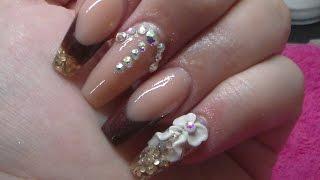 getlinkyoutube.com-Acrylic Nails | Nude and Burgundy | CJP Acrylic