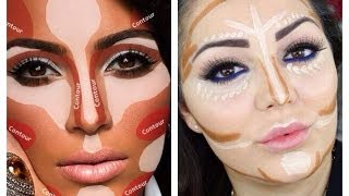 getlinkyoutube.com-Contouring and Highlighting like Kim Kardashian - Makeup Secret!