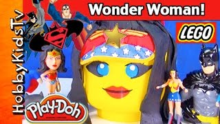 getlinkyoutube.com-Giant Play-Doh WONDER WOMAN LEGO Head Makeover! SuperMan + BatMan Surprise Egg Toys by HobbyKidsTV