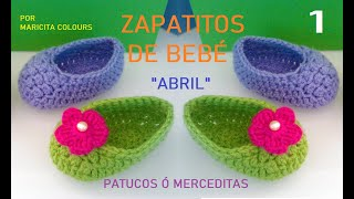 "Zapatitos Bebé a Crochet ""Abril"" (Parte 1) Merceditas Subtitles English & Deutsch"