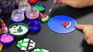 getlinkyoutube.com-Hama Beads Pyssla - Orecchini Anguria - earrings watermelon - Video Tutorial -
