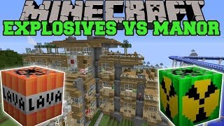 getlinkyoutube.com-MORE EXPLOSIVES MOD VS HILLSIDE MANOR - Minecraft Mods Vs Maps (Nukes, Bombs, Lava)