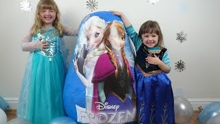 getlinkyoutube.com-DISNEY FROZEN Videos SUPER GIANT Surprise Egg The Worlds Biggest Ever Elsa Anna Dolls Let it Go Wand