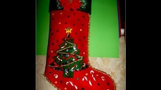 getlinkyoutube.com-Bota Navideña con relieves escarchados - , Christmas Crafts