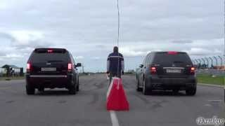 Jeep SRT8 VS ML63AMG VS BMW X6M! Drag-Racing! +REVS + Photos + Launch Controls!