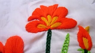 getlinkyoutube.com-Satin Stitch Flower | Hand Embroidery Tutorial