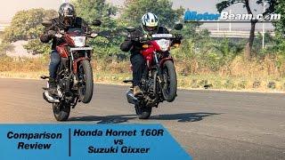 Honda CB Hornet 160R vs Suzuki Gixxer - Comparison Review | MotorBeam
