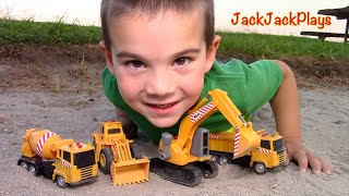 getlinkyoutube.com-Construction Vehicles toys for kids: Toy UNBOXING - MB Excavator Dump Truck Cement Mixer Loader