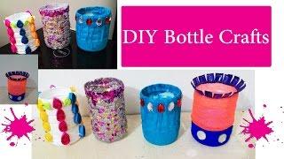 4 DIY waste bottle crafts | DIY bottle pen holder