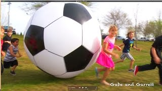 getlinkyoutube.com-Giant Inflatable Soccer Ball!  6 Feet TALL! | Gabe and Garrett
