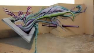 getlinkyoutube.com-3D Airbrush Street Art Artist Ossama Nasr رسم ثلاثي الأبعاد عالجدار والأرض- أسامة نصر