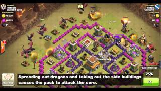 getlinkyoutube.com-Clan Wars: TH7/TH8 Dragon Attack Strategy - Spreading