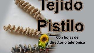 Tejido pistilo cestería con papel periódico -  Pistil woven baskets with newspaper