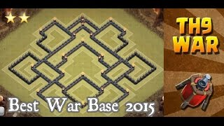 Clash of Clans - (TH9) War Base 2015 + 2 Air Sweeper / Anti 2-3 stars + Defense Replays