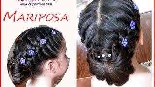 getlinkyoutube.com-Trenza Mariposa - Peinado para fiesta - Trenza y flores.  Peinado infantil , pelo largo