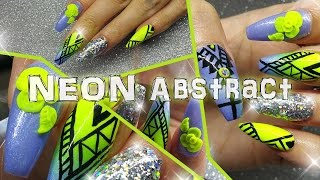 getlinkyoutube.com-Ombre Neon yellow and Periwinkle blue abstract Nail Design