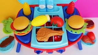 getlinkyoutube.com-Toy Barbecue Grill Velcro Cutting vegetables Peel and play Cooking Playset BBQ